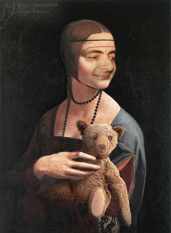 Rowan Atkinson (Mr. Bean) in role of Leonardo's Lady with an Ermine