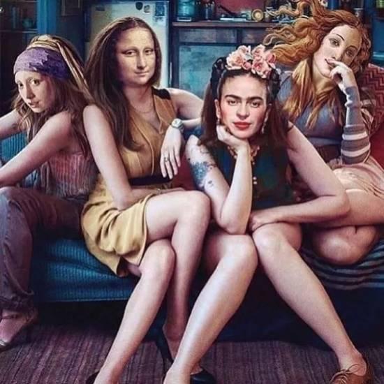 Vermeer's Girl with perl, Leonardo's Mona Lisa, Frida Kahlo and Botticelli's Venus together