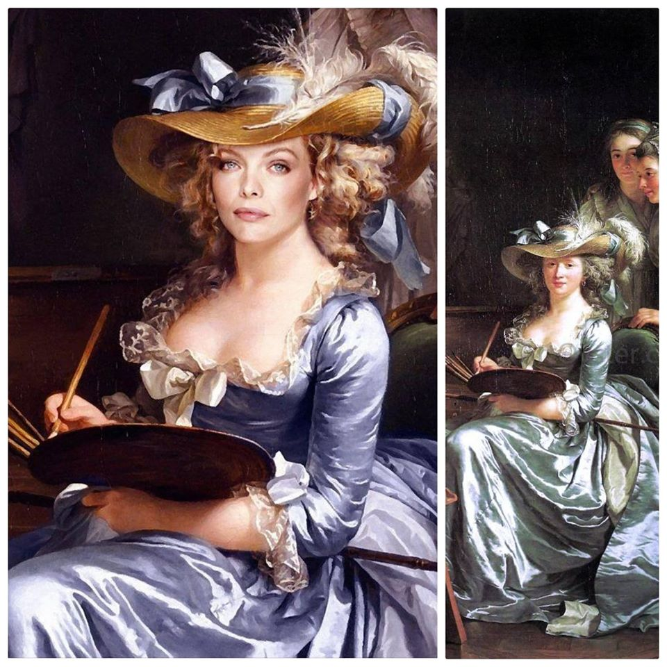 Michelle Pfeiffer in role of 'Adela Øde Labille-Guiard's Self-Portrait with Two Pupils'