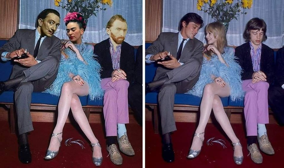 Salvador Dalí, Frida Kahlo and Vincent Van Gogh in roles of Alain Delon, Marianne Faithfull and Mick Jagger