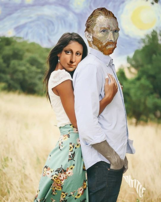 Van Gogh with Mona Lisa in his landscape