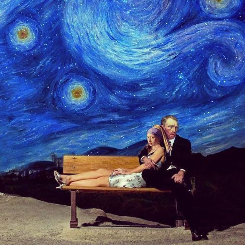 Van Gogh with Vermeer's Girl with perl in romantic 'Starry Night' scene