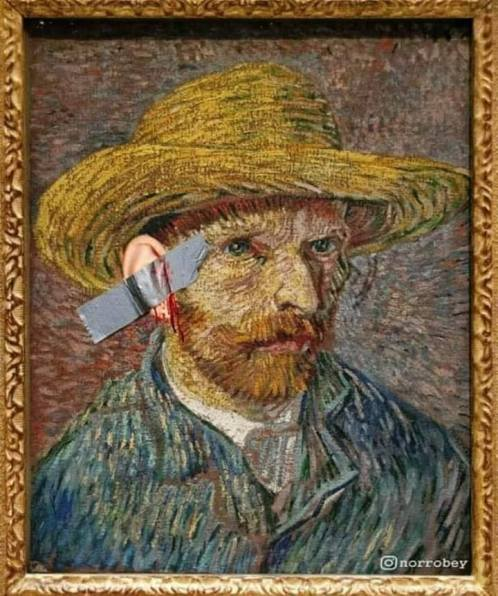Vincent Van Gogh's self portrait by Maurizio Cattelan style