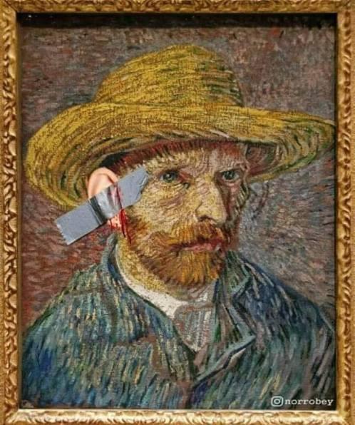 Vincent Van Gogh's self portrait by Maurizio Cattelan style