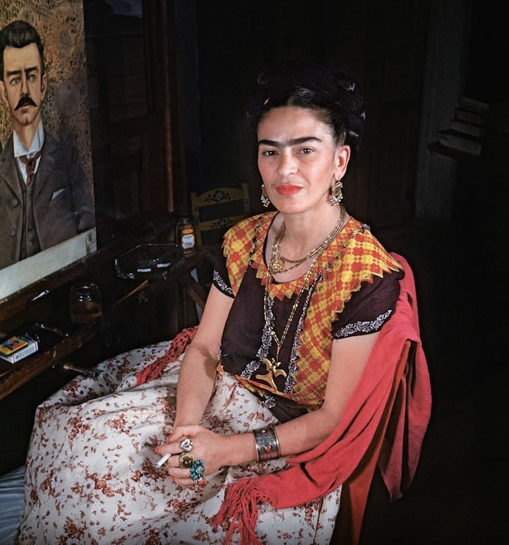 Frida Kahlo with Portrait of her father, 1951 - Photography by Gisèle Freund