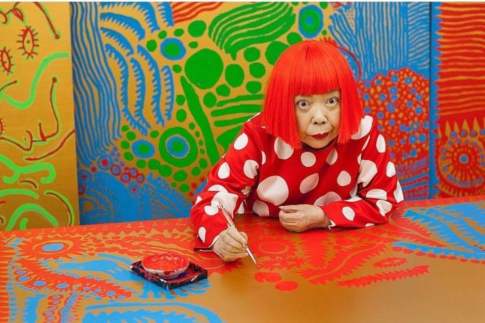 Yayoi Kusama working at her atelier in Tokyo, 2012