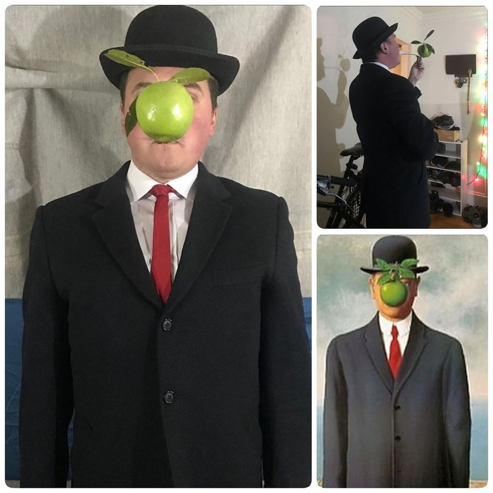 René Magritte's 'The Son of Man' by Covid Classics (and behind the scenes)_teaching art history from home