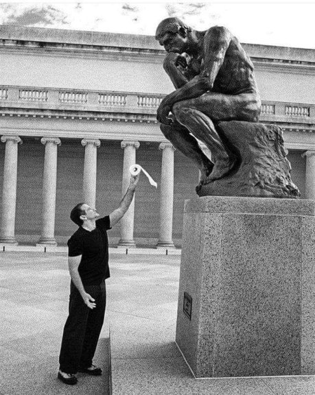 Robin Williams offers toillet paper to Rodin's Thinker, early 1990s_the greatest treasure at the quarantine time