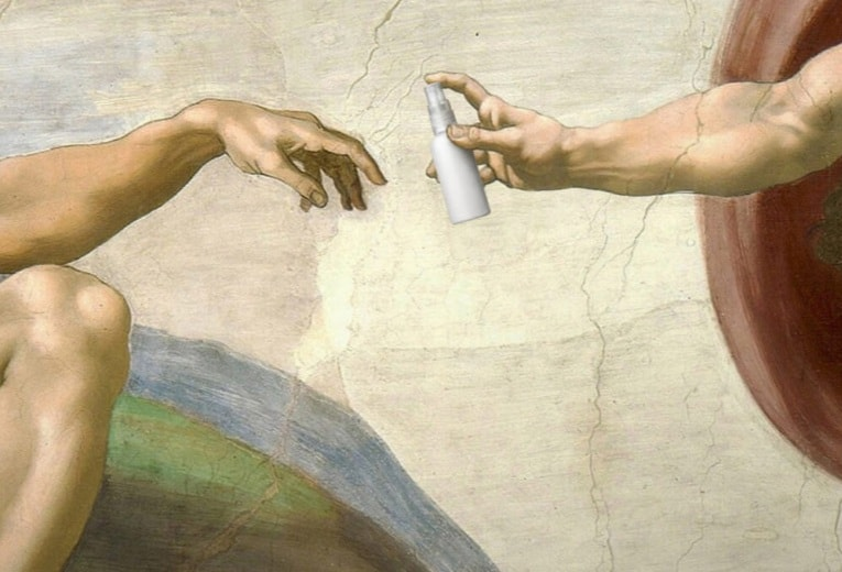 Art of Quarantine_Michelangelo's Creation of Adam (ca. 1512) updated in the times of coronavirus