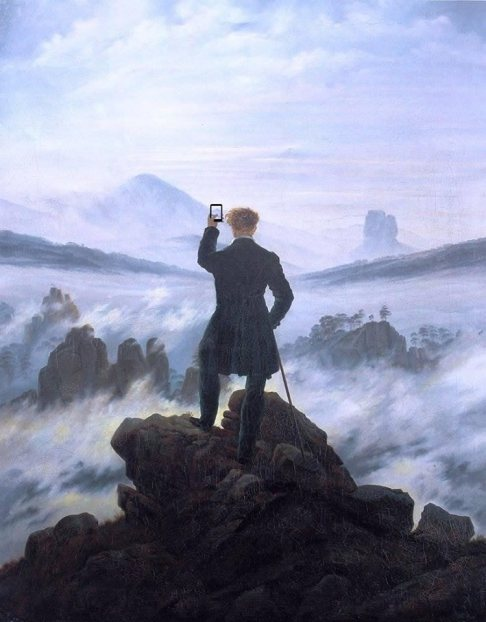 Caspar David Friedrich's selfie at the times of social distance