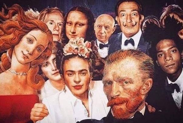 Last party tableau before quarantine times with Botticelli's Venus, Frida, Van Gogh, Basquait, Andy Warhol, Picasso, Salvador Dalí and Mona Lisa