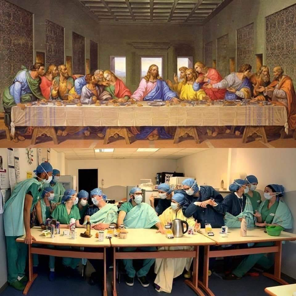 Leonardo's Last Supper updated at the time of the coronavirus with hospital workers