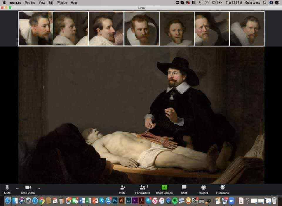 The Anatomy Lesson of Dr. Nicolaes Tulp (1632) of Rembrandt updated_ Zoom Lesson at the quarantine times