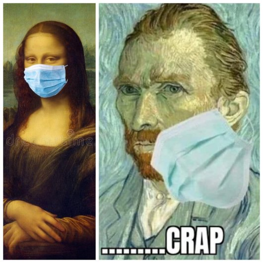 when Mona Lisa shows you how to wear the mask but you are Van Gogh and you fail ...